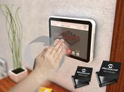 Microchip Technology's new partnership with Silicon Integrated Systems Corp. combines both company's technology together into the industry's first combined multi-touch with 3D-gesture interface module for various display products, including this home thermostat.