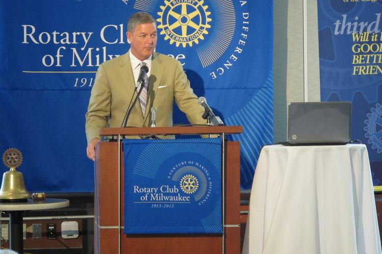 "Tim Sheehy spoke to the Rotary Club of Milwaukee about funding the community's ""cultural assets."""