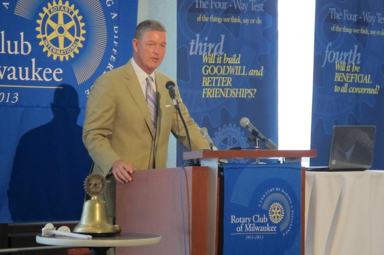 Tim Sheehy, president of the Metropolitan Milwaukee Association of Commerce, speaking before the Rotary Club of Milwaukee on Aug. 6, 2013.