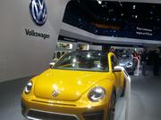 A Beetle at the Volkswagen display at the Detroit Auto Show.