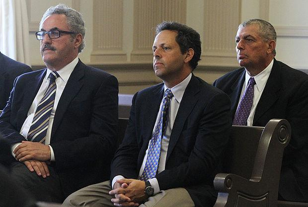 From left, Zygi Wilf, Mark Wilf, and Leonard Wilf appear in court Monday as Judge Deanne Wilson reads her decision following a 2-year trial in a 21-year-old lawsuit.