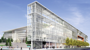 """The """"fin wall"""" along First Avenue has been removed from designs for the proposed basketball arena in the Sodo area."""
