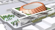 This rendering shows the previous design of the Sodo basketball arena in spring 2013.