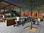 A night-time rendering of the redeveloped courtyard in Deep Ellum.