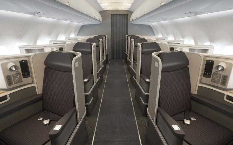 American Airlines' new first class on the transcontinental routes between JFK, LAX, and SFO.