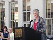 Former Galveston Mayor Lyda Ann Thomas speaking at Tuesday's public remembrance of George P. Mitchell