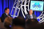 The Motorsports 2.0 event featured a Fireside Chat with NASCAR President Mike Helton (left) and Dale Jarrett, current ESPN analyst, former driver and a NASCAR Hall of Fame inductee.
