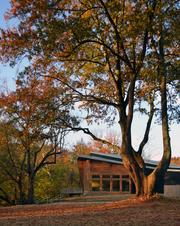 Here is another exterior view of the Gheens Foundation Lodge, which is in a scenic setting.