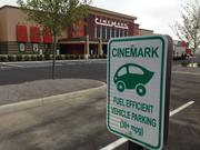 The Cinemark theater has parking spots close to the theater entrance reserved for fuel-efficient vehicles.