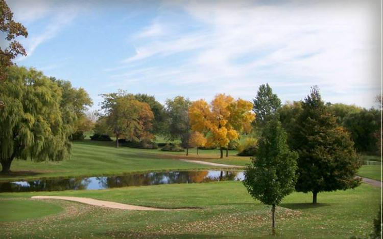 The 18-hole golf course includes a clubhouse on the busy I-94 corridor.
