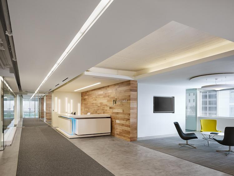 The Zilliant lobby and reception desk makes the most of combining different materials from wood to concrete to fabric and fun LED lighting. Click through the photos for a tour through the new office.