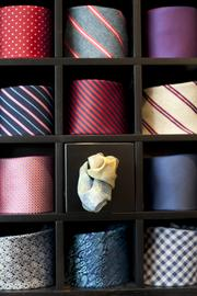 In another part of the store, ties are cleverly displayed.