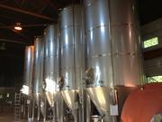 Five 120-barrel fermenters custom made to fit within the building's 25-foot ceiling.