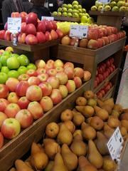The produce selection emphasizes local and organic.