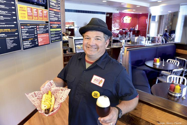 JJ's Red Hots owner Jon Luther Jr. at his new location in Ballantyne, which opened last week.