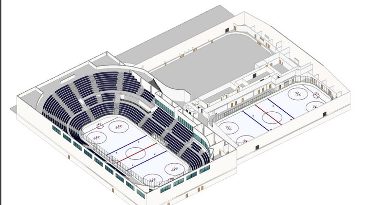 The overall plan for the ION International Training Center calls for two rinks and a host of other amenities. The hockey rink is to be encircled by 4,200 seats.