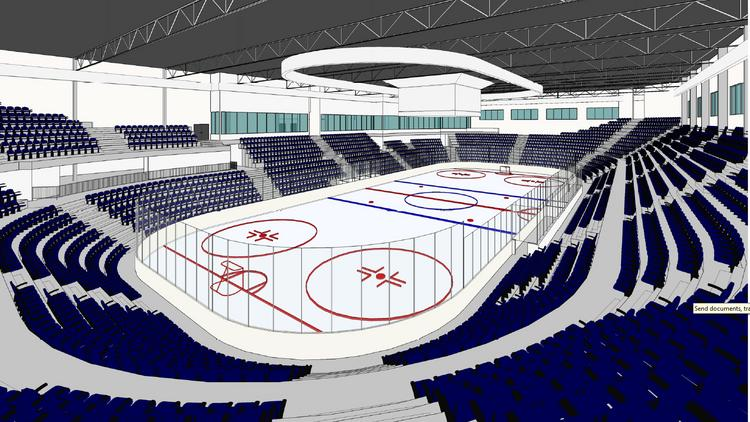 A close-up view of a proposed hockey rink with 4,200 stadium seats planned for the 100,000-square-foot ION International Training Center in the Leesburg area.