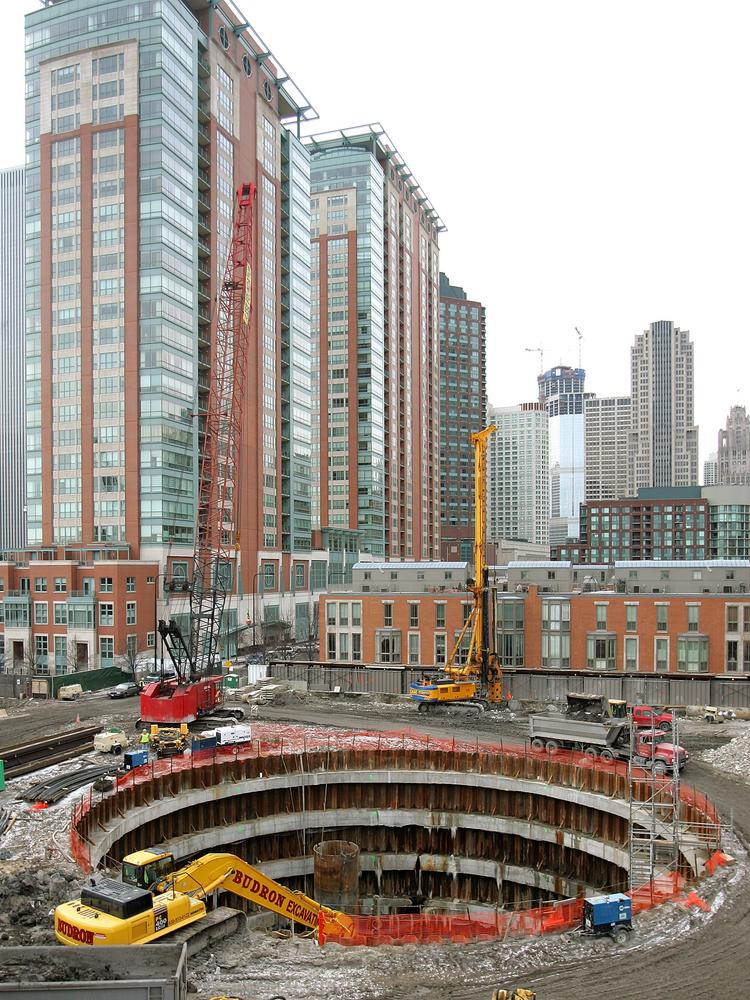 Workers only got as far as digging a hole and starting the foundation for the Spire, as shown in this 2008 photograph.