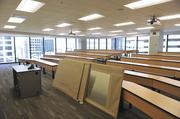 A Charlotte Law classroom, with smart boards waiting to be installed.