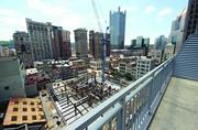 The view from the balcony of Stephen Casbeer and Lori Carpenter's two-bedroom, two-bath 1,700-square-foot top floor condo at Piatt Place, in downtown Pittsburgh.