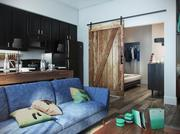 A virtual view of the living room and entrance to the bedroom of a Remington Row apartment.