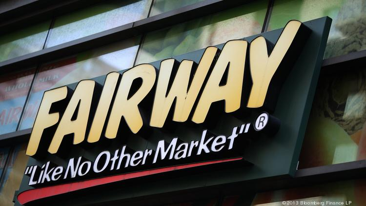 Fairway Group Holdings Corp. signage is displayed in front of a market in New York.