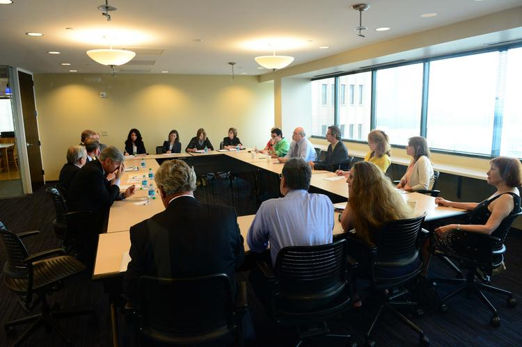 Atlanta Business Chronicle's first official visitors to its brand new office came Thursday to talk about higher education and its relationship to the metro Atlanta workforce.