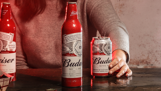 "Budweiser's new packaging focuses less on the ""bow tie"" aspect of the iconic logo."