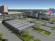A rendering of the Sixers' training complex and team headquarters.