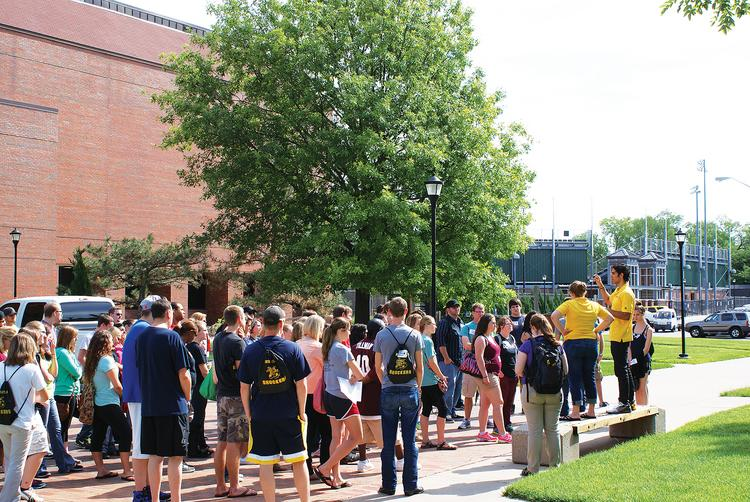 New students tour the campus at Wichita State University on Wednesday morning during an orientation.