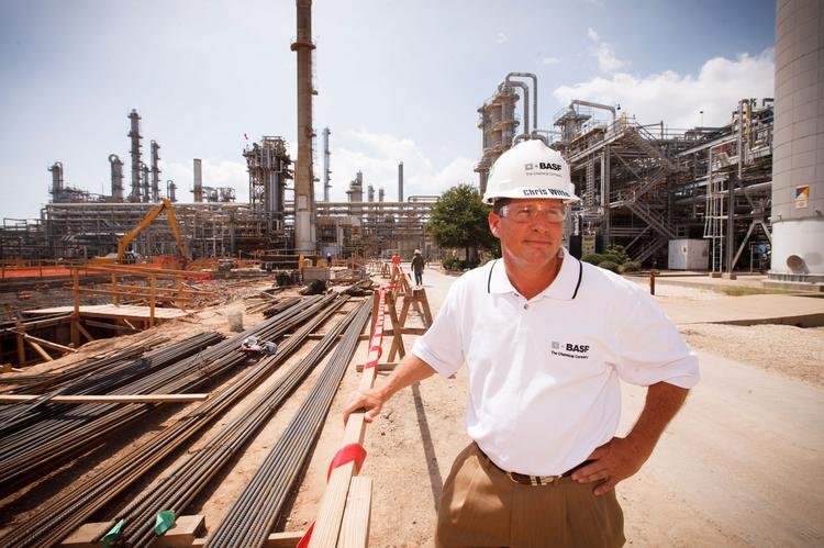 Chris Witte, site manager of BASF's Freeport plant in Texas, is overseeing construction of the company's new emulsion polymers plant.