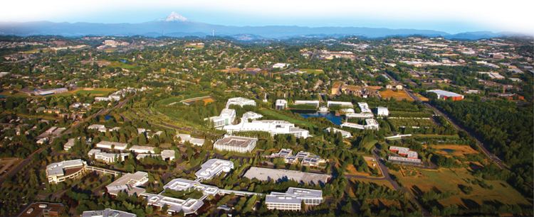 An aerial view of the Nike campus in Washington County.