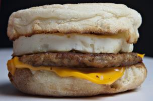 Here's the standard McDonald's sausage McMuffin with egg. Recently, the restaurant chain announced it would start selling a version made with egg whites and a whole grain muffin.