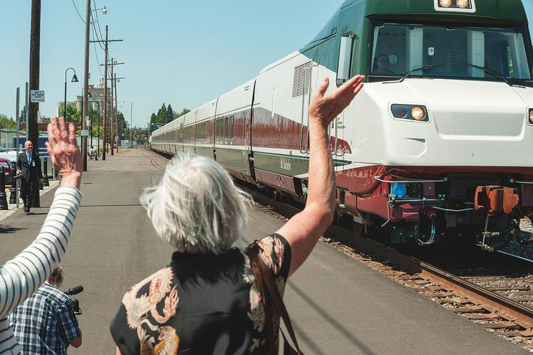 Talgo delivered two trains built in Milwaukee to Oregon in July.