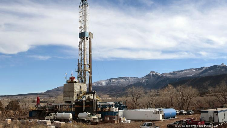 A Nabors Drilling USA LP rig drills for natural gas in a field west of Rifle, Colorado.