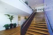 A staircase connecting the 41st and 42nd floors of Boeing's offices in Seattle's Russell Investments Center.