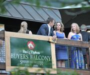 The Fasig-Tipton Buyers Balcony provides a private view of the auction scene.