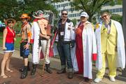 Costumed attendees for Otakon 2013 at the Baltimore Convention Center (from left): Rachel Vasquez as Monkey D. Luffy; Dustin Hinson as Portgas D. Ace; Matthew Burger as White Beard; Tom Jones as Smoker; Mike Strang as Akainu; and John Burger Admiral Kizaru.