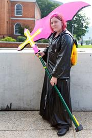 Pennsylvania resident Faith Piper came dressed as Marluxia from Kingdom Hearts for Otakon 2013.