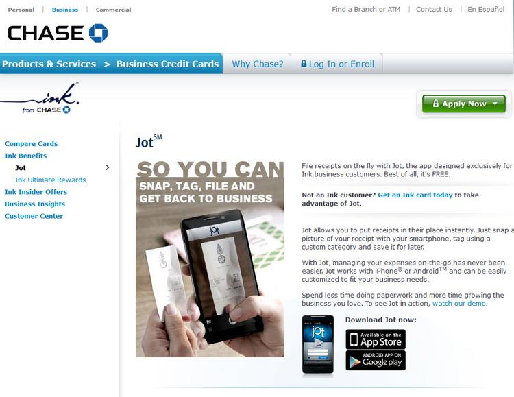 Chase touts its Jot app on its web site as well as in a new national campaign featuring new Jersey's The Paper Cottage.