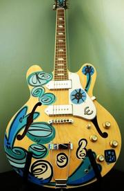 A LEBO-painted guitar.