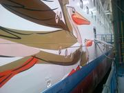 A detail of the artwork on the Norwegian Getaway