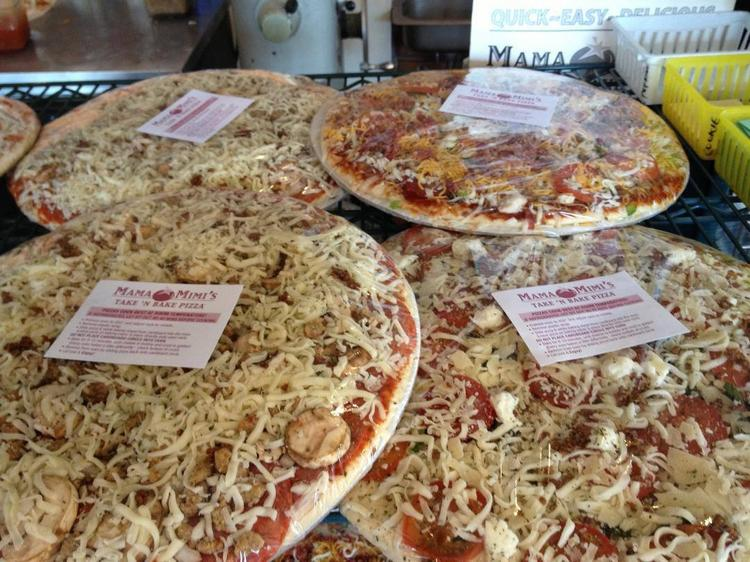 Selections from Mama Mimi's take home pizza items.