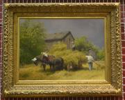"""The Madden collection includes this oil from about 1885, Cesare Ciani's """"Peasants in Field."""""""