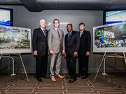 Left to right: Rodney Barreto, Chairman of the South Florida Super Bowl Bid Committee, Tom Garfinkel, President and CEO of the Miami Dolphins, Nat Moore, Director of the South Florida Super Bowl Bid Committee, Mike Zimmer, President of the South Florida Super Bowl Bid Committee.