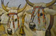 """A section of Luigi Gioli's """"Four Easter Oxen,"""" an oil on canvas that was painted in 1890. Restoration was done to remove yellowing varnish."""