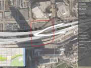 The location of a proposed plaza park underneath the newly reconstructed Interstate 395.