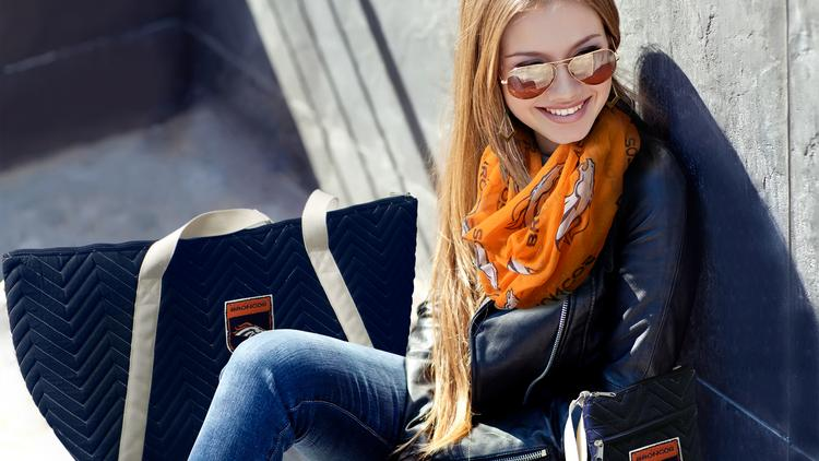 The infinity scarf is a favorite among Denver Broncos female fans.