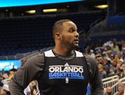 "Glenn ""Big Baby"" Davis, shown during a team practice, may now be out for the rest of the Magic's season."