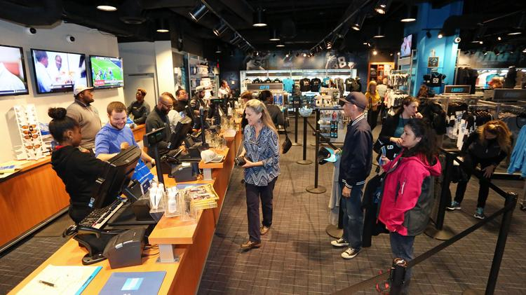 Fans have been coming in record numbers to the Carolina Panthers team store this week to get gear for Super Bowl 50.